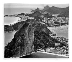 Rio De Janeiro - Sugar Loaf, Corcovado And Baia De Guanabara Fleece Blanket