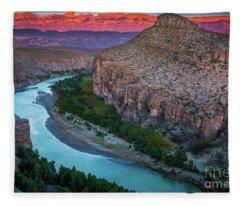 Rio Grande At Dusk Fleece Blanket