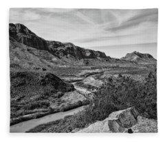 Rio Grande River 5 Black And White Fleece Blanket
