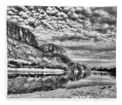 Rio Grande River Black And White Fleece Blanket