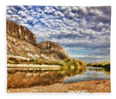 Rio Grande River Oil Painting Fleece Blanket