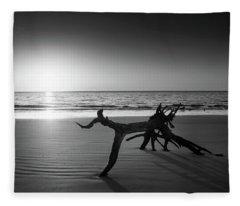 Ripples At Sunrise In Black And White Fleece Blanket