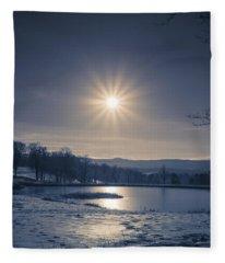 Rising Sun On A Cold Winter Morning Fleece Blanket