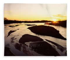 River At Sunset, Platte River Fleece Blanket