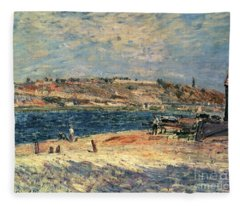 River Banks At Saint-mammes Fleece Blanket