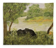 River Bend In Spring Fleece Blanket
