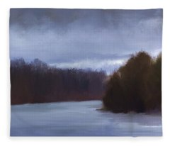 River Bend In Winter Fleece Blanket