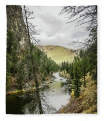 River In The Canyon Fleece Blanket