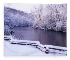 River In Winter Fleece Blanket