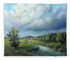 River Landscape Spring After The Rain Fleece Blanket