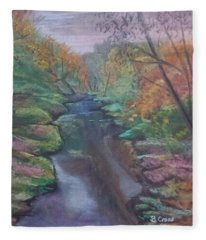 River In The Fall Fleece Blanket