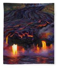 River Of Fire - Kilauea Volcano Eruption Lava Flow Hawaii Contemporary Landscape Decor Fleece Blanket