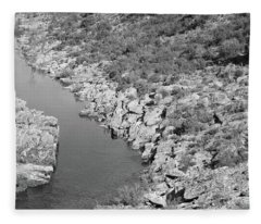 River On The Rocks. Bw Version Fleece Blanket