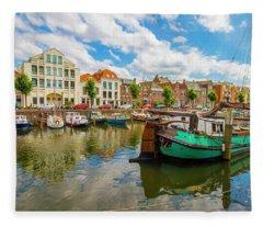 River Scene In Rotterdam Fleece Blanket