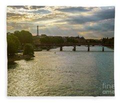 River Seine At Dusk Fleece Blanket