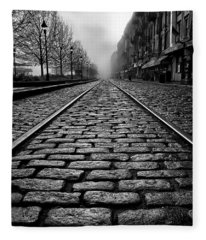 River Street Railway - Black And White Fleece Blanket