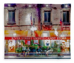 River Street Sweets Candy Store Savannah Georgia   Fleece Blanket