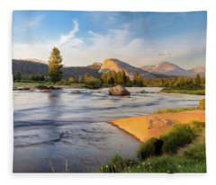 River Sunset  Fleece Blanket