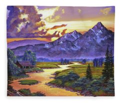 Riverside Cabin Fleece Blanket