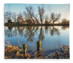 Riverside Trees Fleece Blanket