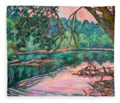 Riverview At Dusk Fleece Blanket