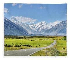 Road To Aoraki Fleece Blanket