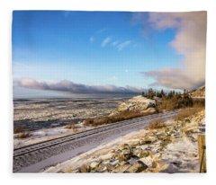 Road, Tracks, And Water Fleece Blanket