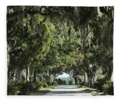 Road With Live Oaks Fleece Blanket