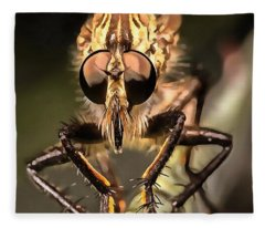 Robber Fly Profile Asildae Close Up Fleece Blanket