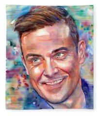 Robbie Williams Portrait Fleece Blanket