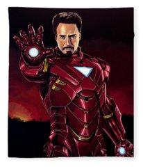 Robert Downey Jr. As Iron Man  Fleece Blanket