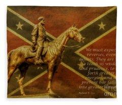 Robert E Lee Inspirational Quote Fleece Blanket