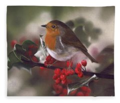 Robin And Berries Fleece Blanket