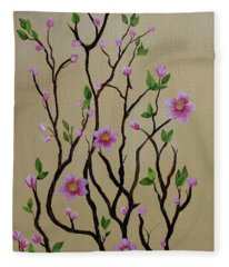 Robin And Spring Blossoms Fleece Blanket