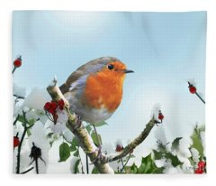 Robin In The Snow Fleece Blanket