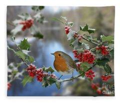 Robin On Holly Branch Fleece Blanket