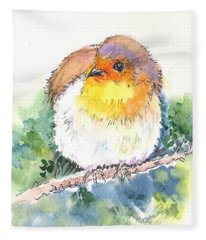 Robin On The Branch Fleece Blanket