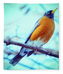 Robin Red Breast In Winter - Impressionism Fleece Blanket
