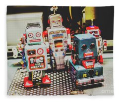 Robots Of Retro Cool Fleece Blanket