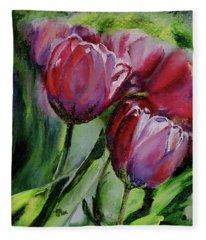 Rochelle's Springtime Tulips Fleece Blanket