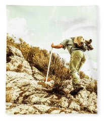 Rock Climbing Mountaineer Fleece Blanket