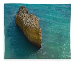 Rock Formation And The Sea In Algarve Fleece Blanket