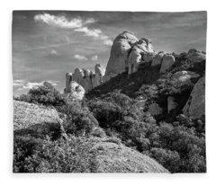 Rock Formations Montserrat Spain II Bw Fleece Blanket