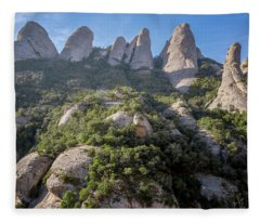 Rock Formations Montserrat Spain Fleece Blanket