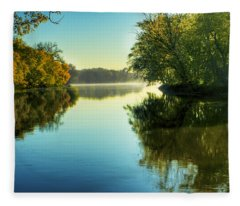 Rock River Autumn Morning Fleece Blanket
