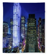 Rockefeller At Night Fleece Blanket
