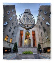 Rockefeller Centre Atlas - Nyc - Vertorama Fleece Blanket