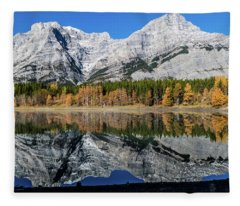 Rockies From Wedge Pond Under Late Fall Colours, Spray Valley Pr Fleece Blanket
