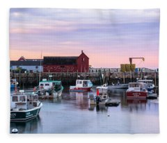 Fleece Blanket featuring the photograph Rockport Waterfront With Motif No 1 by Nancy De Flon