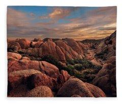 Rocks At Sunrise Fleece Blanket